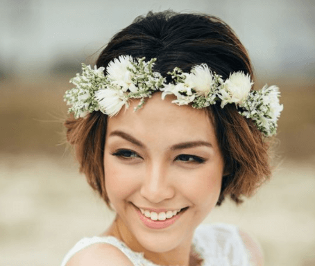свадебные прически на короткие волосы с фатой