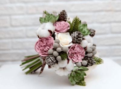 зимний свадебный букет своими руками